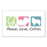 Peace, Love, Collies Sticker (Rectangle 50 pk)