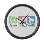 Peace, Love, Mastiffs Large Wall Clock