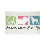 Peace, Love, Mastiffs Rectangle Magnet (100 pack)
