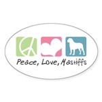 Peace, Love, Mastiffs Sticker (Oval 50 pk)