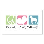 Peace, Love, Mastiffs Sticker (Rectangle 10 pk)