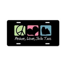 Peace, Love, Shih Tzus Aluminum License Plate