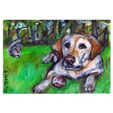 Cute Dogs yellow labrador Wall Art