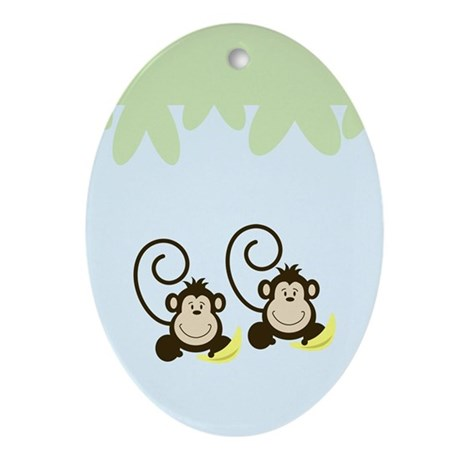 Silly Monkeys Ornament (Oval)
