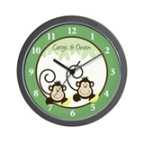 Silly Monkeys Wall Clock - Cerys & Owen