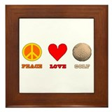 Peace Love Golf Framed Tile