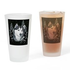 Alaskan Malamute Winter Desig Drinking Glass