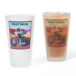 Bulldog and Frenchie Biker Drinking Glass