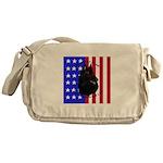 Belgian Sheepdog & Flag Messenger Bag