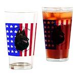 Belgian Sheepdog & Flag Drinking Glass