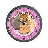 Pink Girl Jungle Safari Wall Clock