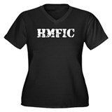 HMFIC white Women's Plus Size V-Neck Dark T-Shirt