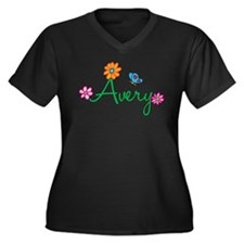 Avery Flowers Women's Plus Size V-Neck Dark T-Shir