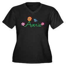 Averie Flowers Women's Plus Size V-Neck Dark T-Shi