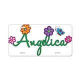 Angelica Flowers Aluminum License Plate