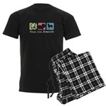 Peace, Love, Bullmastiffs Men's Dark Pajamas
