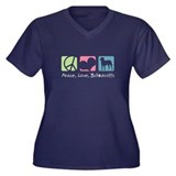 Peace, Love, Bullmastiffs Women's Plus Size V-Neck