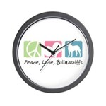 Peace, Love, Bullmastiffs Wall Clock