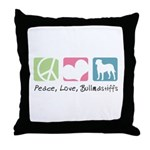 Peace, Love, Bullmastiffs Throw Pillow