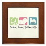 Peace, Love, Bullmastiffs Framed Tile