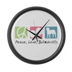 Peace, Love, Bullmastiffs Large Wall Clock