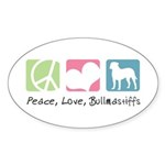 Peace, Love, Bullmastiffs Sticker (Oval 10 pk)