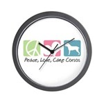 Peace, Love, Cane Corsos Wall Clock