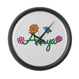 Amya Flowers Large Wall Clock
