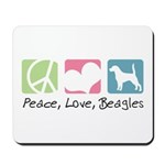 Peace, Love, Beagles Mousepad