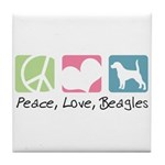 Peace, Love, Beagles Tile Coaster