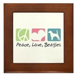 Peace, Love, Beagles Framed Tile