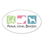 Peace, Love, Beagles Sticker (Oval 50 pk)