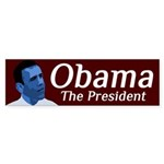 Obama in Democratic Blue bumper sticker