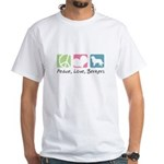 Peace, Love, Berners White T-Shirt