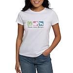 Peace, Love, Berners Women's T-Shirt