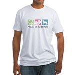 Peace, Love, Berners Fitted T-Shirt