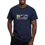 Peace, Love, Berners Men's Fitted T-Shirt (dark)