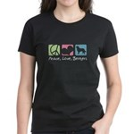 Peace, Love, Berners Women's Dark T-Shirt