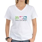 Peace, Love, Berners Women's V-Neck T-Shirt