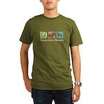 Peace, Love, Berners Organic Men's T-Shirt (dark)