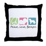 Peace, Love, Berners Throw Pillow