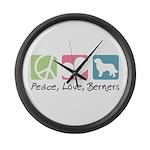 Peace, Love, Berners Large Wall Clock