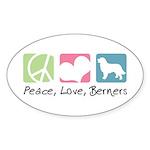 Peace, Love, Berners Sticker (Oval 10 pk)