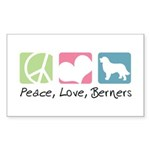 Peace, Love, Berners Sticker (Rectangle 50 pk)