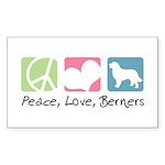 Peace, Love, Berners Sticker (Rectangle 50 pk)