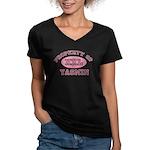 Property of Yasmin Women's V-Neck Dark T-Shirt
