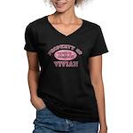 Property of Vivian Women's V-Neck Dark T-Shirt