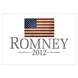 Mitt Romney with Flag Wall Art