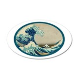 Kanagawa great wave 22x14 Oval Wall Peel