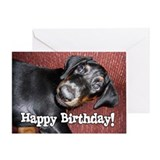 Happy Birthday - Doberman Puppy Greeting Card